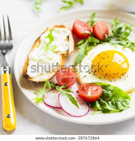 fried egg, vegetable salad and a grilled cheese sandwich on a light background - stock photo