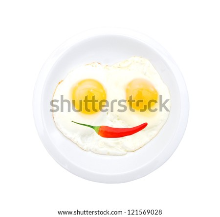 Fried eggs in the place and chili on white - stock photo