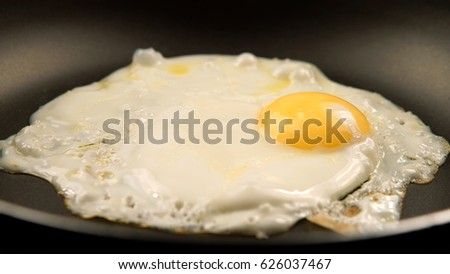 Fried eggs on the pan - Side view