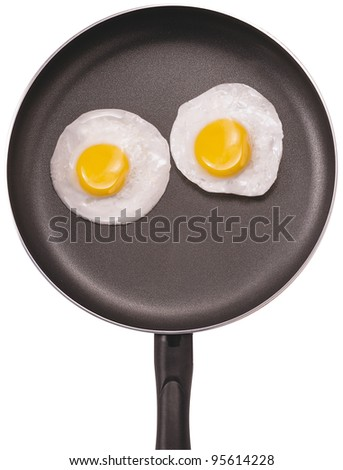Fried eggs. Pan with handle on white background - stock photo