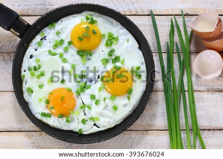 Fried eggs with chives