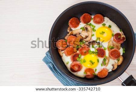 fried eggs with mushrooms and sausage in a frying pan