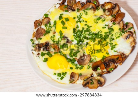 Fried Eggs Mushrooms Cheese Green Onions Stock Photo ...