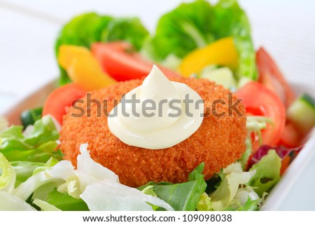 Fried ermine cheese with vegetable salad - stock photo