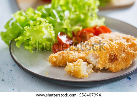 fried fish fillet with bread crumb for healthy meal