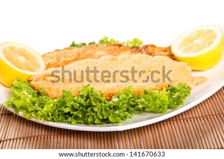 Fried fish fillet with lemon