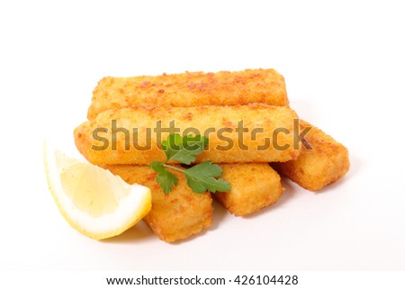 fried fish fingers on white background