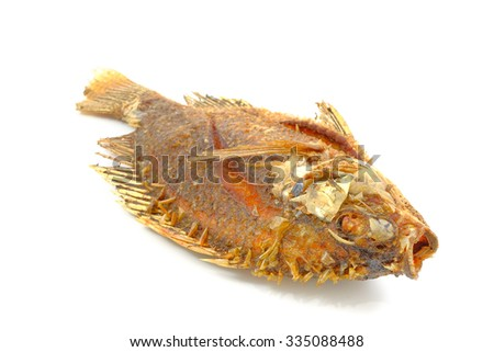 fried fish in isolated on white background