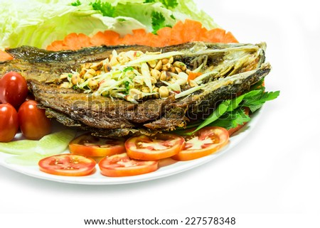 fried fish isolated in white background