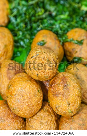 """Fried fish patty : Thai favorite food and Thai people called """" Tod mun """"  with egg inside - stock photo"""