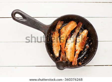 fried fish perch - stock photo
