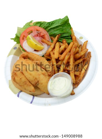 fried fish sandwich and fries on white - stock photo