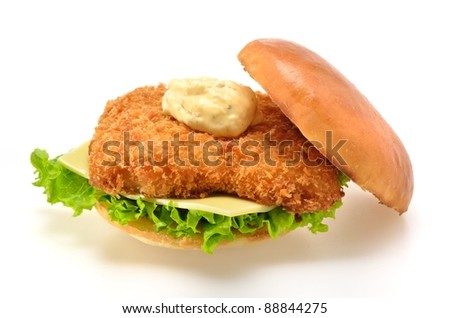 Fried Fish Sandwich on white background