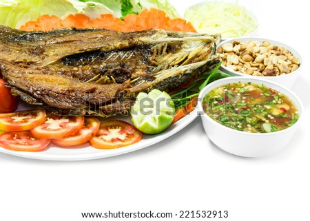 Fried Fish(Silver perch) With Fish Sauce