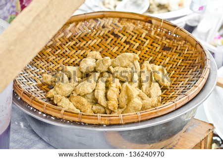 Fried fish  (Tod Mun Pla) in Thailand. - stock photo