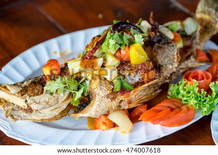 Fried Fish with Chili Sauce with thai food style
