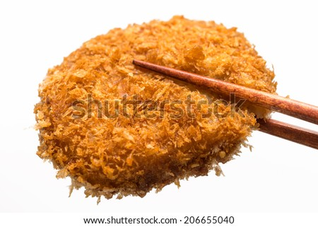 fried food croquettes isolated on white background - stock photo