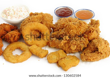 fried food on white background - stock photo