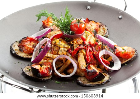 Fried Foods - Meat with Vegetables and Onions - stock photo