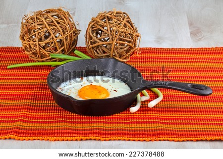 Fried Frying Pan with Egg  - stock photo