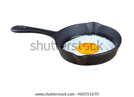 Fried Frying Pan with Egg on white background - stock photo