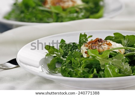 Fried Goat Cheese And Arugula Salad served with a white wine  vinaigrette. Extreme shallow depth of field with selective focus on salad in foreground. - stock photo