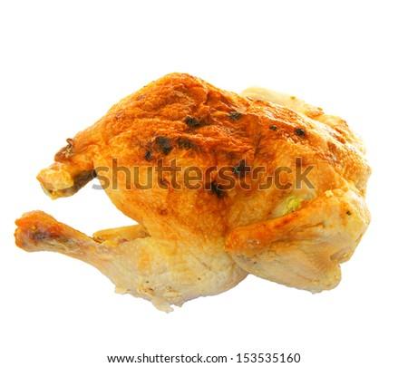 Fried ham of the bird on white background - stock photo