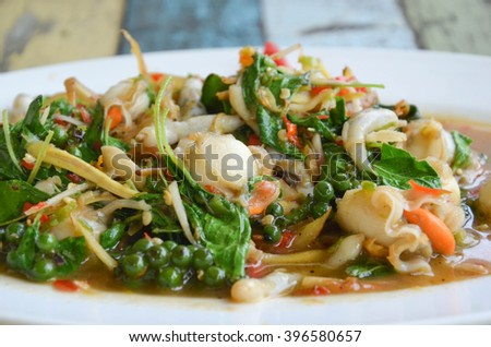 Fried herbal vegetables with scallop, Thai food