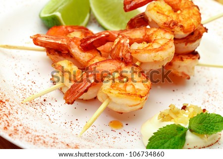 Fried King Prawns Served in Plate, closeup - stock photo