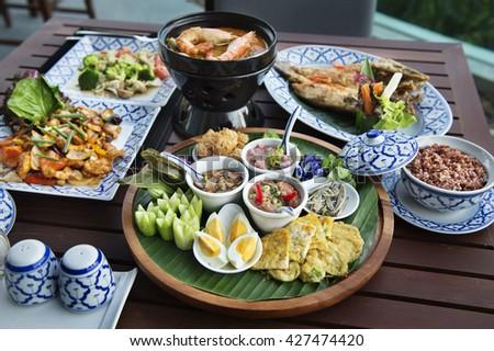 Fried mackerel with shrimp paste sauce - stock photo