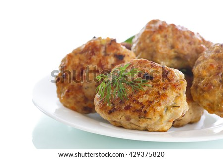 fried meatballs with herbs - stock photo