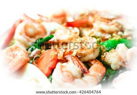 Fried mixed vegetables with shrimp, close up - stock photo