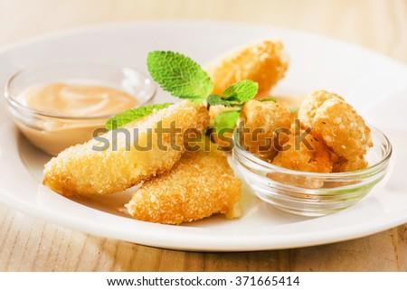 fried mozzarella - stock photo