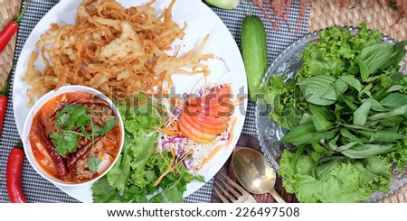 Fried mushrooms and spicy salad.