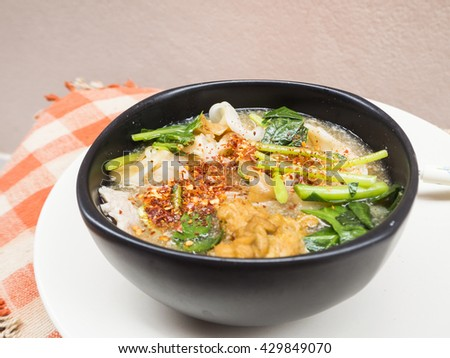 Fried noodles on the table - stock photo