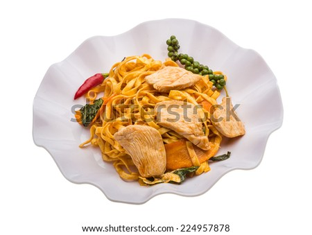 Fried noodles with chicken and vegetables - stock photo