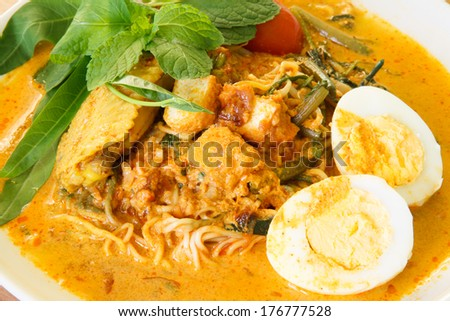 Fried noodles with chicken gravy - stock photo