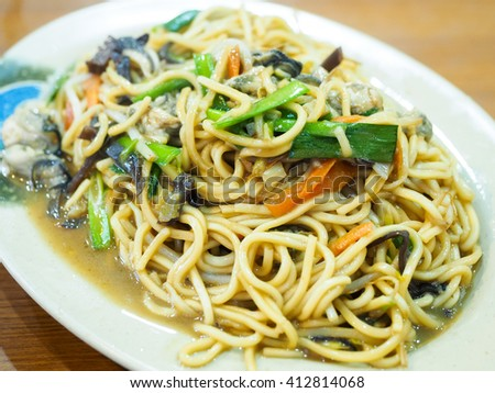 fried noodles with oyster - stock photo