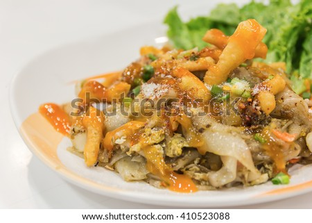 Fried Noodles with roasted chicken and mushroom
