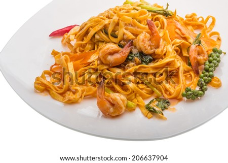 Fried noodles with shrimps and vegetables