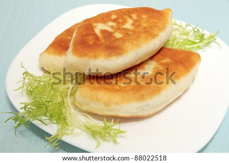 Fried patties with the meat and leaves of the lettuce - stock photo