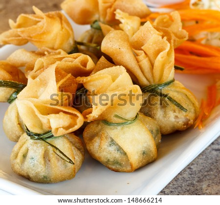 Fried pork dumplings wrapped is food thailand - stock photo