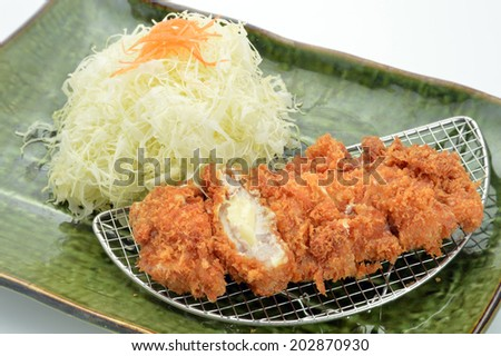 fried pork with cheese, japanese food-tonkatsu-2 - stock photo