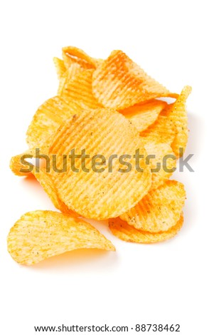 Fried potato chips isolated on white background