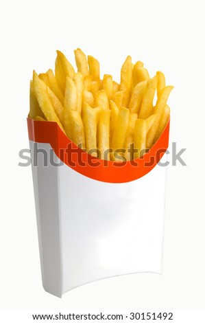Fried potato in packing on a white background