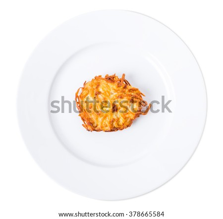 Fried potato pancake with onions. Isolated on a white background. - stock photo