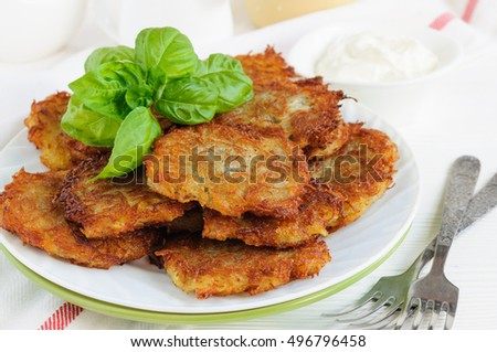 Fried potato pancakes on the plate on table