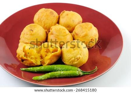Fried Potato Potato vada - the hot indian snack - stock photo