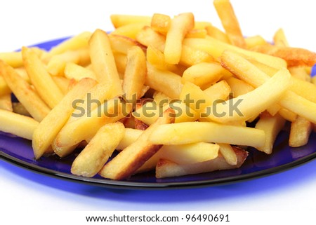 fried potatoes on blue plate