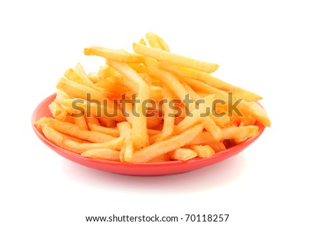 fried potatoes on the plate  on white background - stock photo
